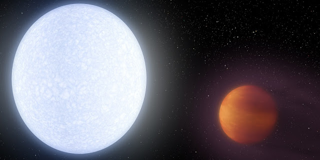 Artist illustration of star KELT-9 and its ultrahot planet KELT-9b. (Robert Hurt / NASA/JPL-Caltech)