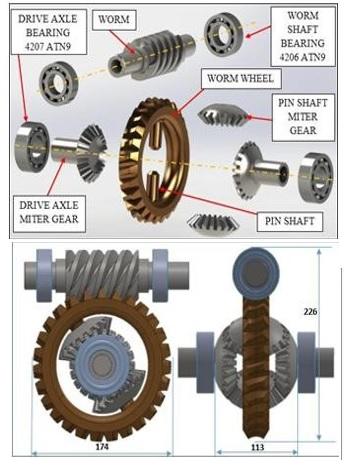 Worm gear Operated Differential gearbox