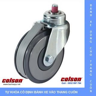 Bánh xe nhựa PU có rãnh dùng cho xe đẩy thang cuốn siêu thị www.banhxepu.net