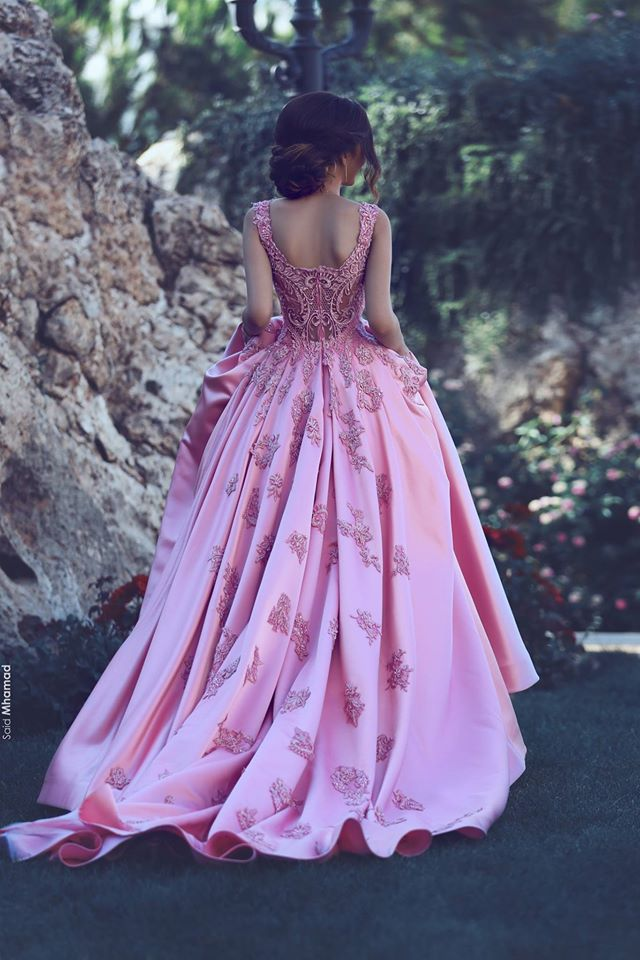 A-Line Pink Sleeveless Appliques Court-Train Glamorous Prom Dress