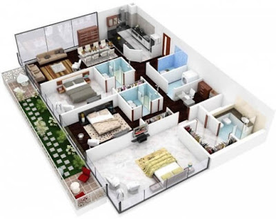 Contoh Gambar 3D Desain Rumah Minimalis Modern Terbaru 7
