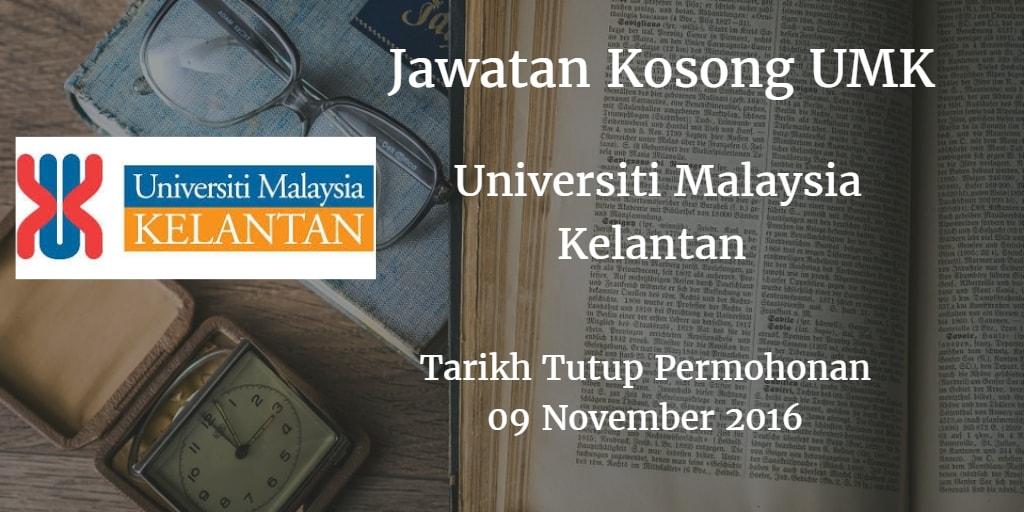Jawatan Kosong UMK 09 November 2016
