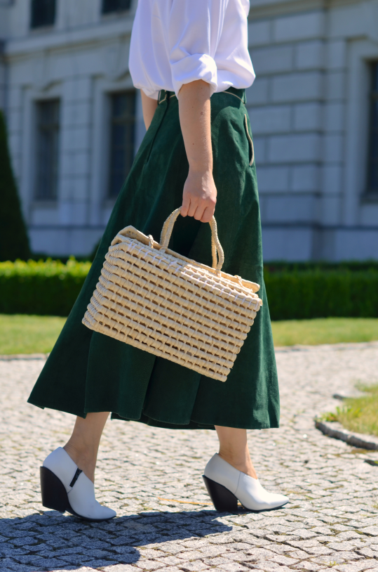 skórzana spódnica midi (leather skirt ) basketbag
