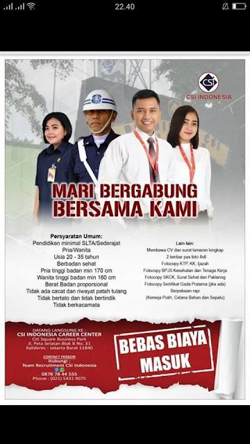 lowongan kerja security csi indonesia DKI jakarta