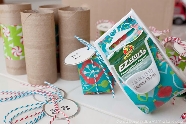 DIY Christmas Advent Calendar with Cardboard Tube Treat Boxes