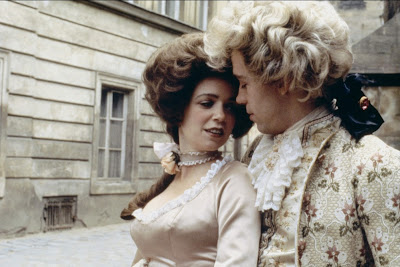 Tom Hulce as Mozart and Elizabeth Berridge as Mozart's wife Constanze in 1984 Musical Amadeus, Directed by Milos Forman