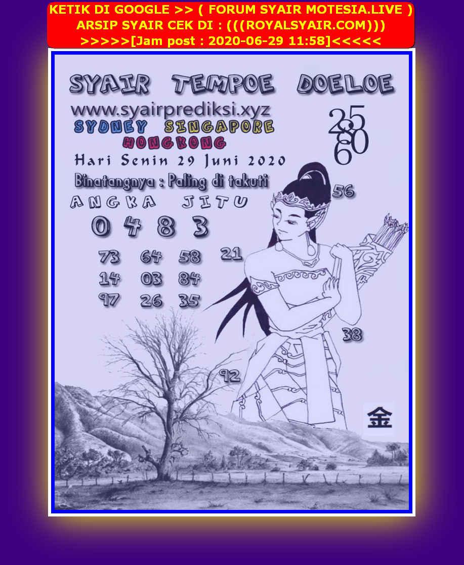 Kode syair Hongkong Senin 29 Juni 2020 285