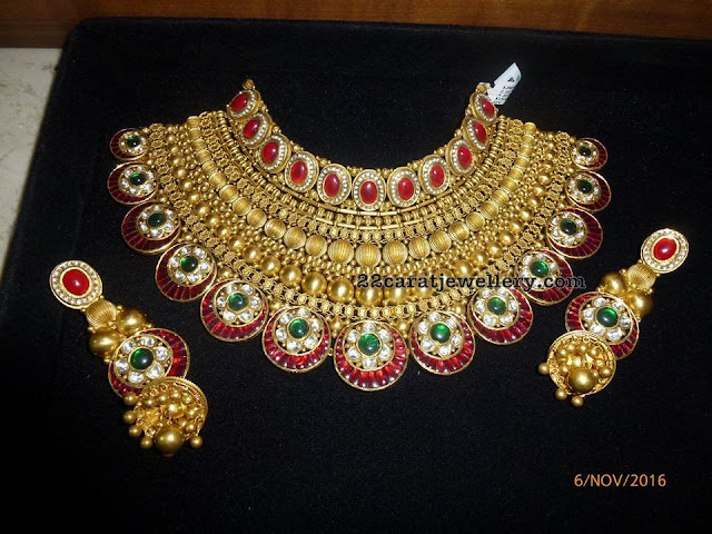 Bridal Antique Choker with Jhumkas
