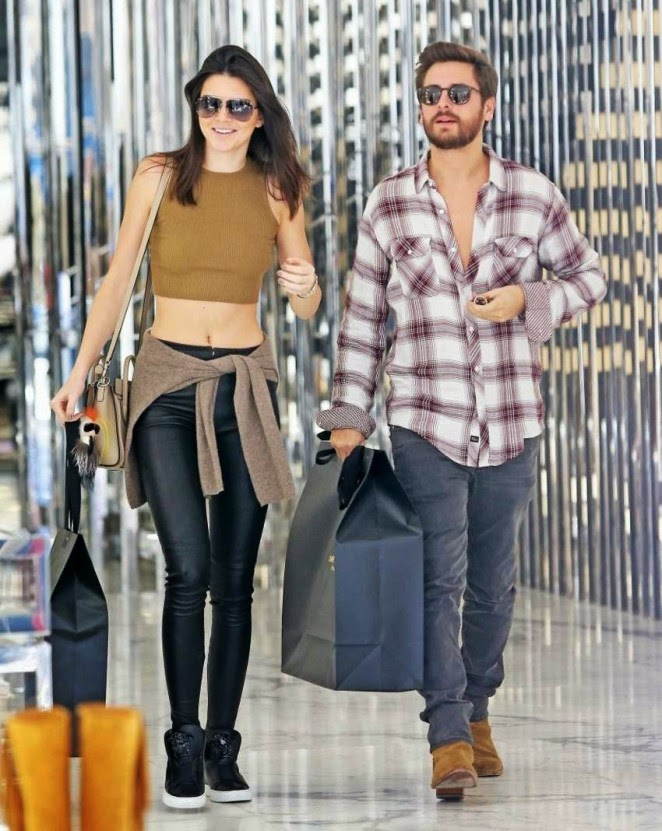 Kendall Jenner sports cropped top and leather leggings out shopping in Beverly Hills