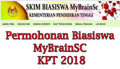 Permohonan Biasiswa MyBrainSC KPT 2018