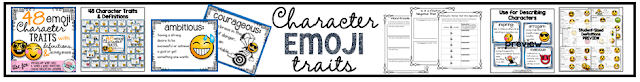 48 character traits emoji theme reading vocabulary