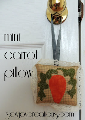 welcome spring with cute applique carrot on mini pillow and hang it with ribbon