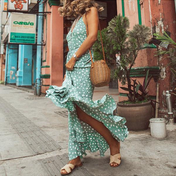 Polka Dot Ruffled Print Bohemian Holiday Wind Beach Dress