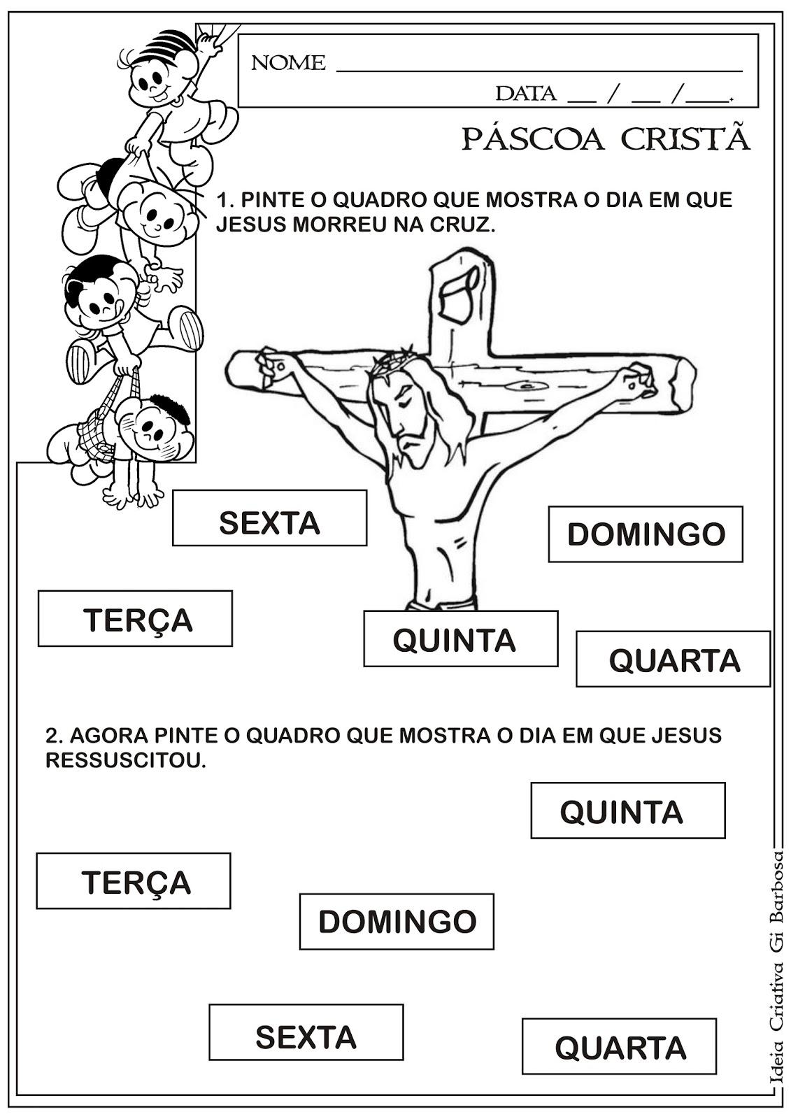 Atividade Páscoa Cristã Morte E Ressurreição