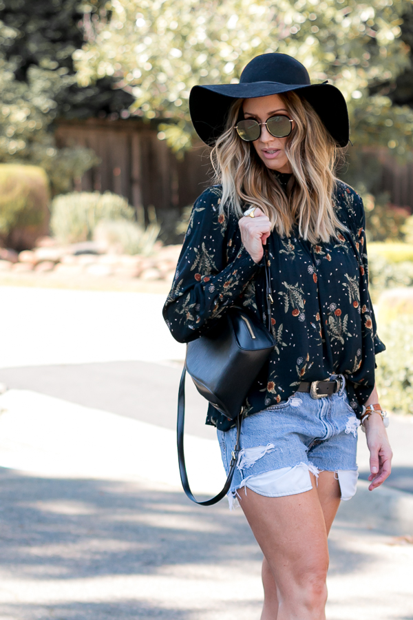 black floral print blouse parlor girl