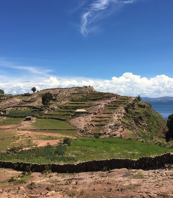 Inca-style agricultural terraces on Taquile Island, Peru
