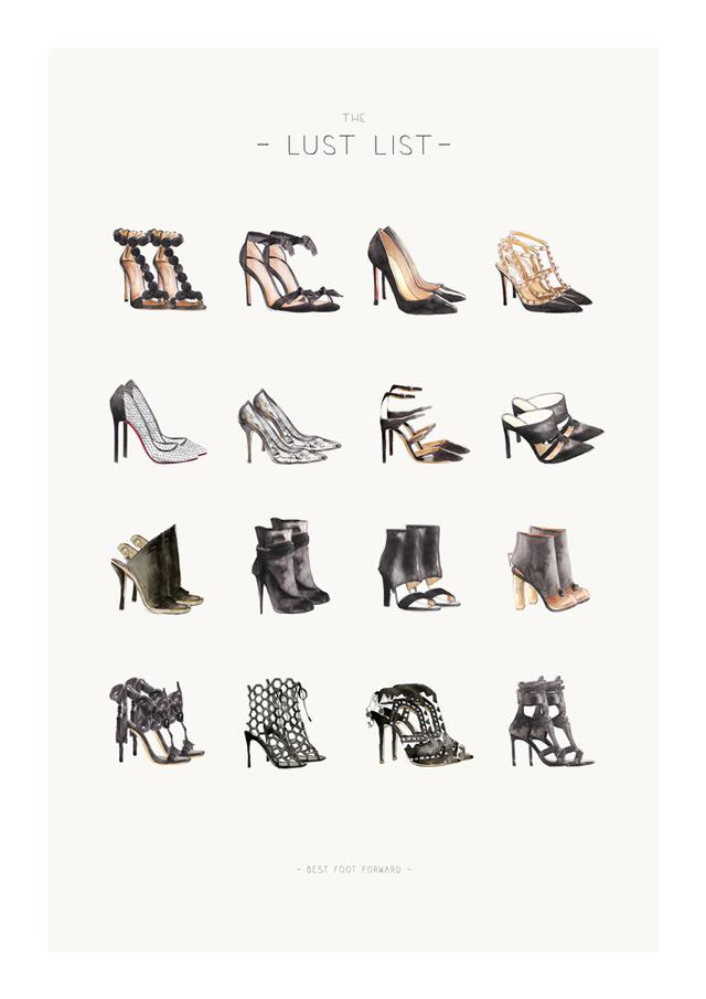 fashion illustration sally spratt, designer shoes, Celine, Dior, Chanel, Balenciaga