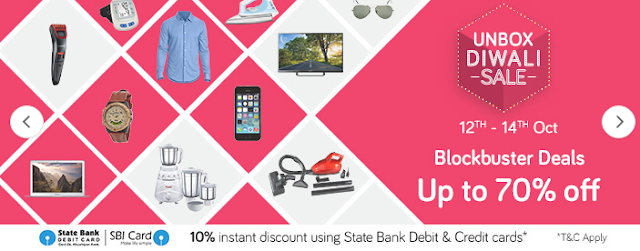 Snapdeal Unbox Diwali Sale 12th - 14th October, 2016 + 10% Instant Discount Using State Bank Cards