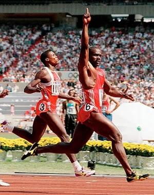 Final dos 100 metros rasos em Seul 1988