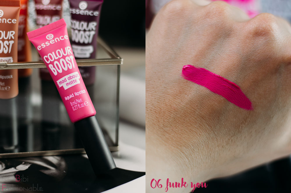 essence colour boost mad about matte liquid lipstick 06 funk you inkl Swatch