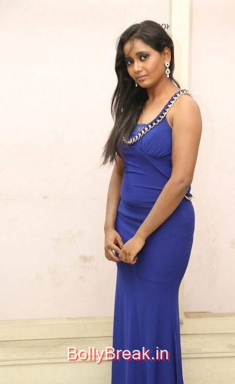Anusha Stills, Anusha Hot Pics in Blue Dress
