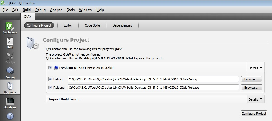 Running QtAV project using QT5, FFMpeg and VS2010 on Windows