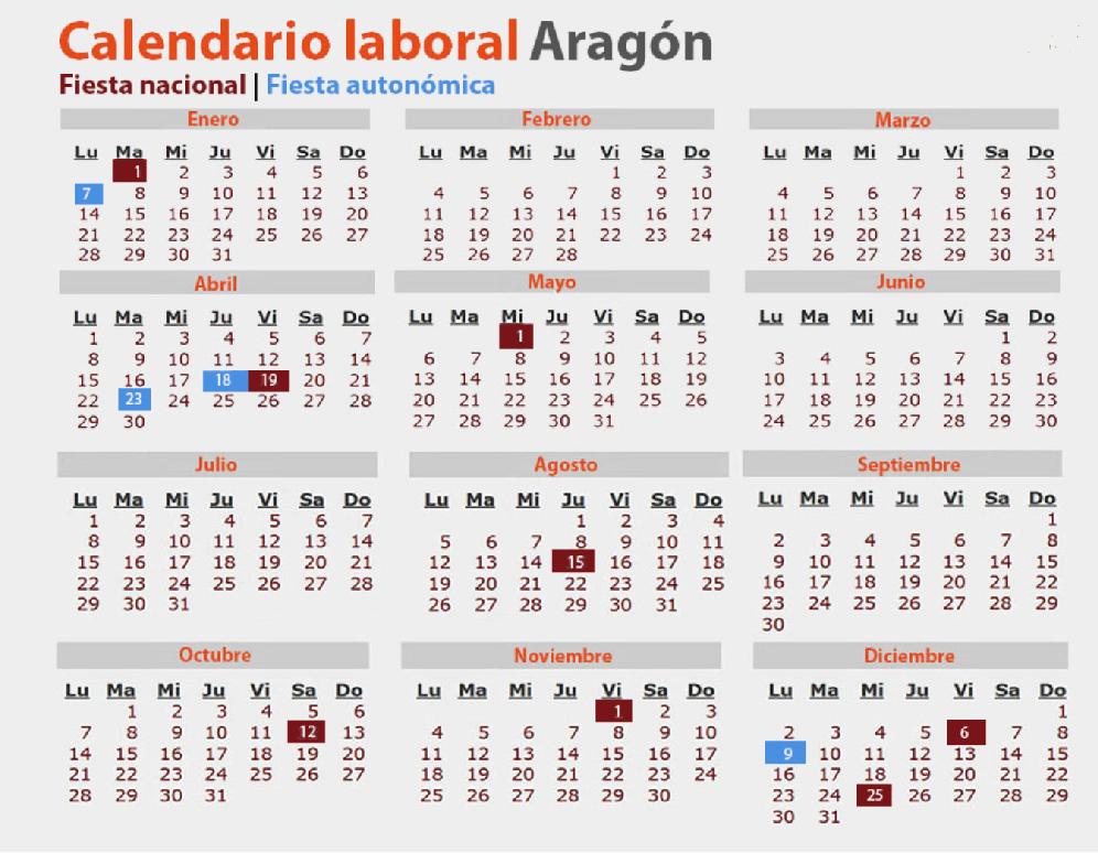 Calendario 2020 Espana Con Festivos.Calendario Laboral 2019 Consulta Los Festivos En Aragon Medicos