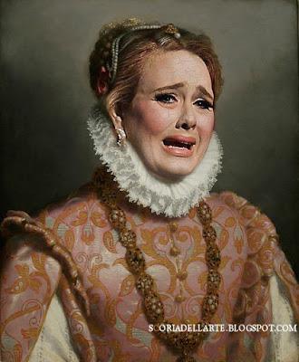 fotomontaggi di celebrità in dipinti classici-Adele's weeping - G.B.Moroni