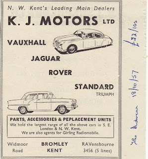 K J Motors Ltd 1957 advert 01