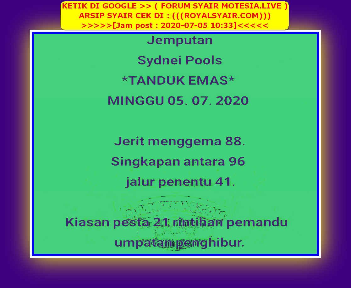 Kode syair Sydney Minggu 5 Juli 2020 52