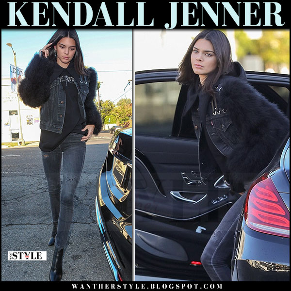 Kendall Jenner in denim fur sleeve jacket, skinny jeans re/done and black ankle boots phillip lim kyoto what she wore may 28 2017