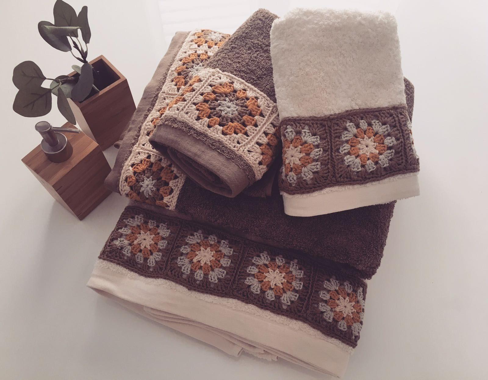 Patronhila Toallas Decoradas Con Granny Square Tutorial - Decoracion-con-toallas