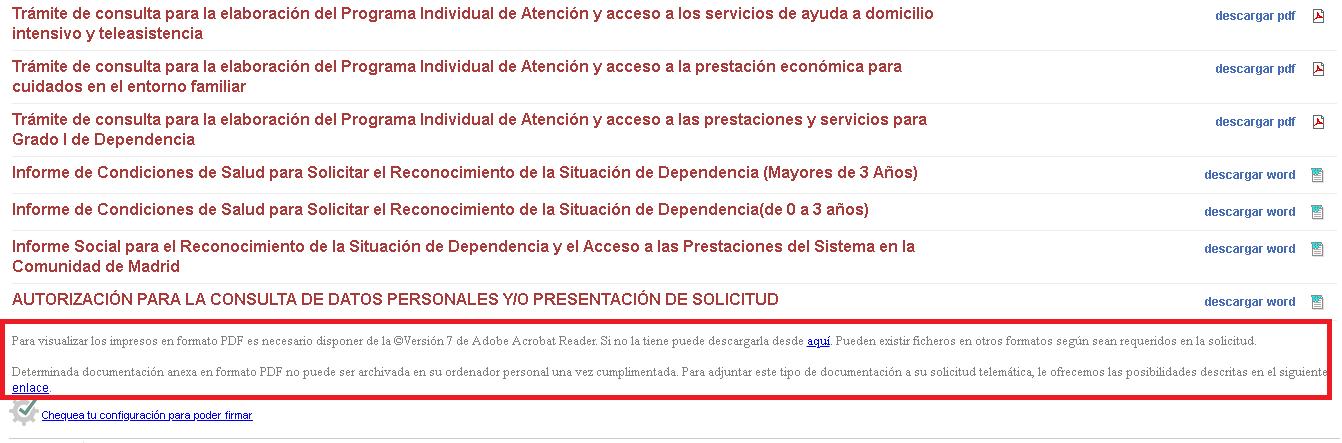 Web de la comunidad de madrid donde el texto carece de un color de fuente accesible