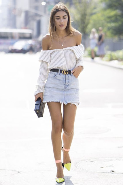 2017 trend style your shirt as an off shoulder top