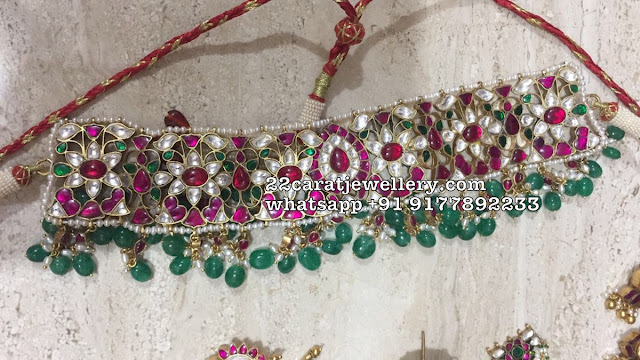 Silver Polki Choker with Emerald Drops
