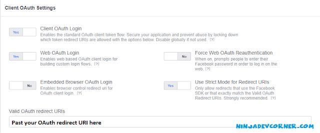 facebook developers app setup