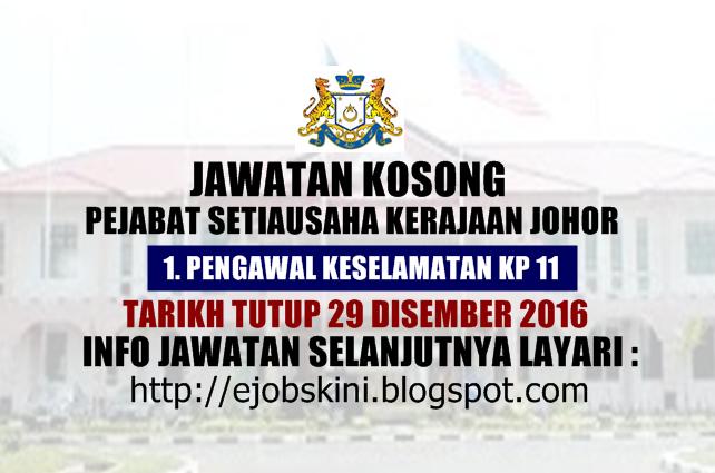 Jawatan Kosong Terkini di Pejabat SUK Johor Disember 2016