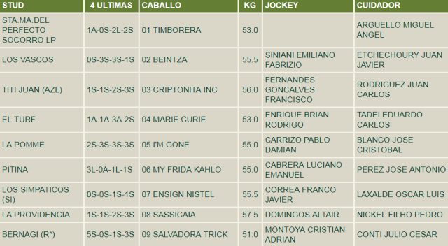 Handicap Rafale 1600m césped. Hipódromo de San Isidro.