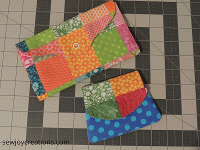 quilted wallets made with rainbow scraps