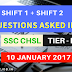 SSC CHSL Tier 1 Exam Questions Asked in 10 th January 2017