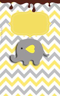 Etiquetas de Elefante Bebé en Amarillo y Gris para imprimir gratis.