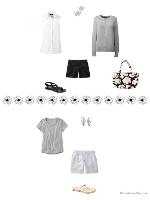 2 casual outfits from a warm-weather travel capsule wardrobe
