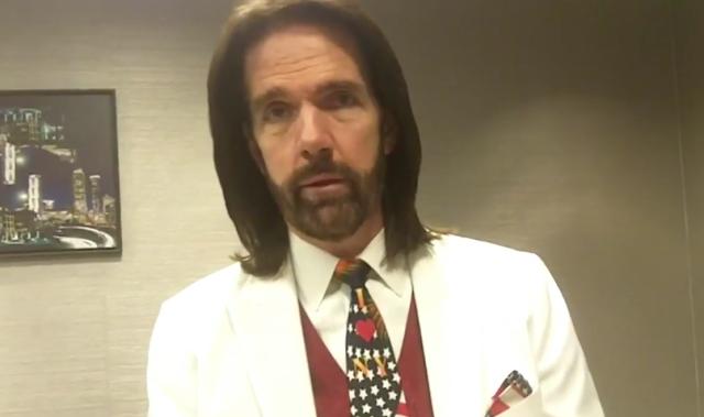 Billy Mitchell white suit jacket American tie