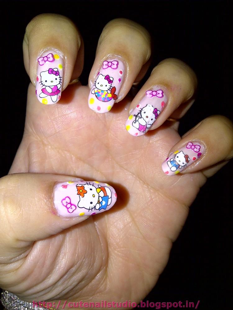 Cute nails: Hello kitty nail art :water decals