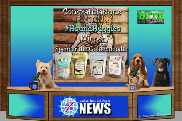 BFTB NETWoof dog News desk with 3 dogs and Dr. Harvey's contest winner on backdrop