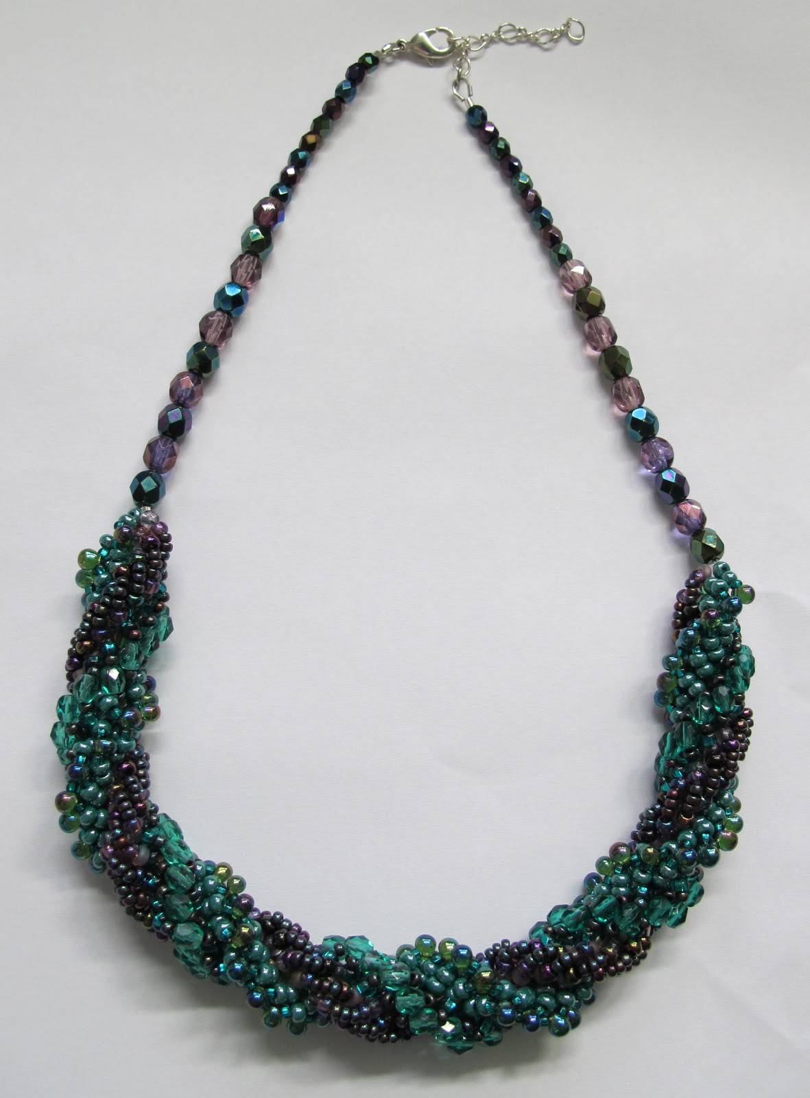 A beaded necklace that I made during my first attempt at Triple Spiral Stitch.