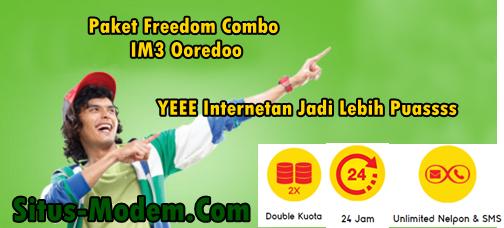 Paket Freedom Combo IM3 Ooredoo  : Paket Internet Indosat Ooredoo  Double Quota Tanpa Batas Waktu Kuota Hingga 20 GB