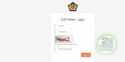 Masukkan NPWP, Password dan Kode Keamnan