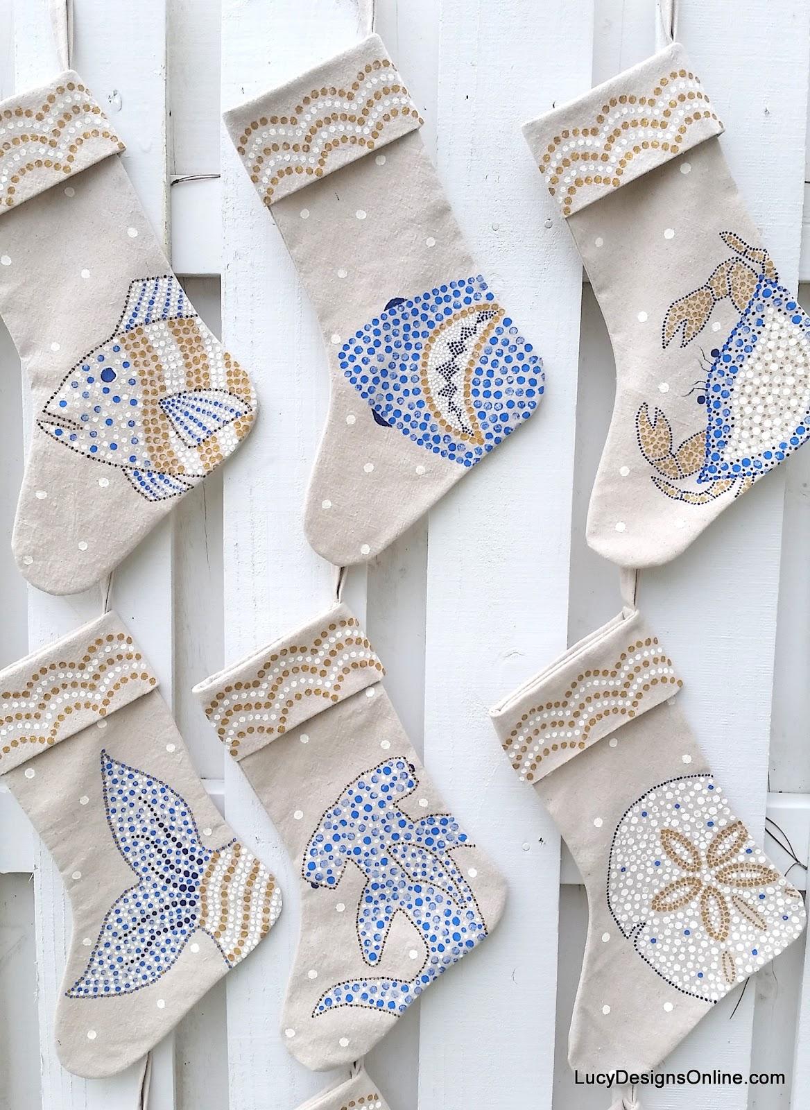 hand painted Christmas beachy stockings coastal art