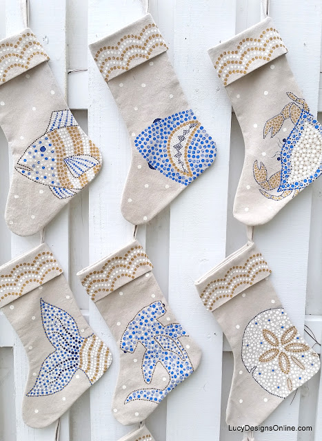 hand painted Christmas beachy stockings coastal art